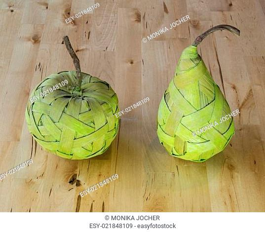 Fruits made from bast on the table