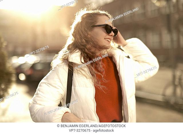 young woman, in city Cottbus, Brandenburg, Germany