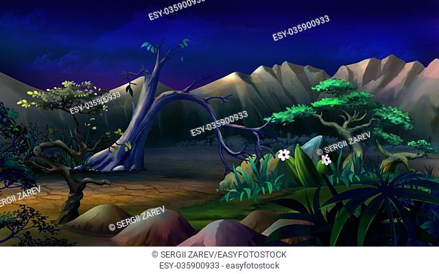 Digital painting of the African Savannah in a summer night with lonely tree and mountains on background