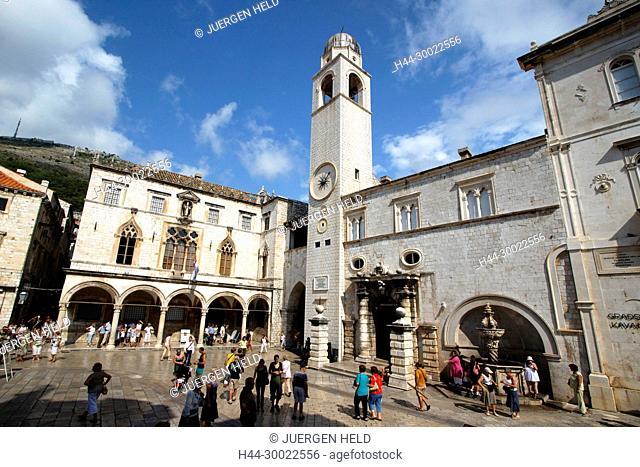 Placa Stadrun , bell tower, Main street at Luza Placa , people, Dubrovnik, Croatia