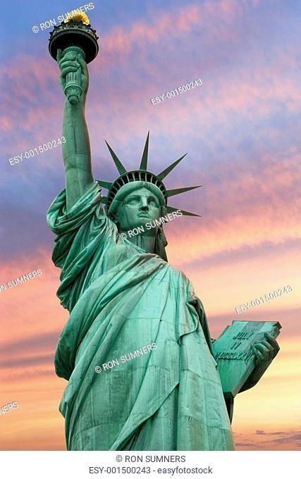 Statue of Liberty under a vivid sky
