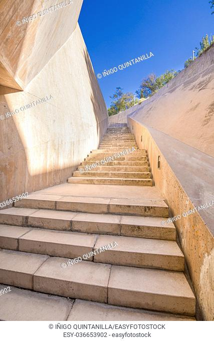 concrete design and modern stairs public pedestrian access to go up to the upper side of the city of Toledo, Spain, Europe