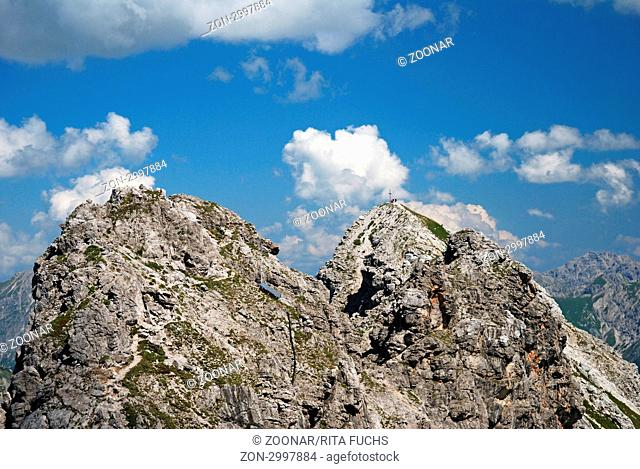 Hindelanger Klettersteig vom Nebelhorn 2224m, zum Großen Daumen 2280m, Allgäuer Alpen, Allgäu, Bayern, Deutschland, Europa