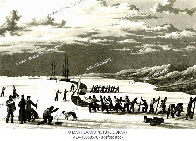Edward Parry and his crew with cutting into their winter quarters at Winter Harbour, on the south side of Melville Island