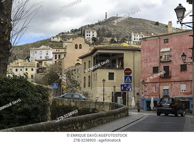 View of colour houses in Cuenca old town