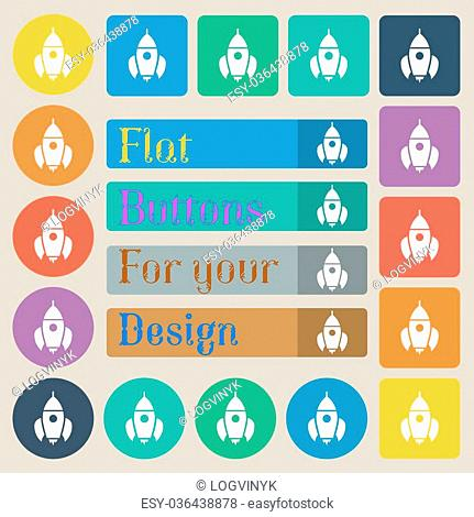 Rocket icon sign. Set of twenty colored flat, round, square and rectangular buttons. Vector illustration