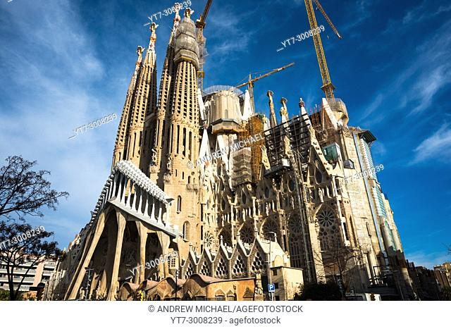 Sagrada Família by Antoni Gaudí in Barcelona. Catalonia, Spain