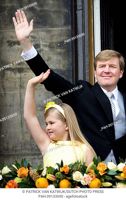 New Dutch King Willem-Alexander and Princess Amalia are seen on the balcony of the Royal Palace at the Dam Square in Amsterdam, The Netherlands, 30 April 2013