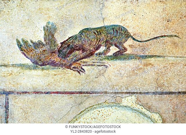 Roman Fresco of a cat killing a bird from The Large Columbarium in Villa Doria Panphilj, Rome. A columbarium is usually a type of tomb with walls lined by...