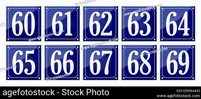 Set of traditional blue enamel signs - Numbers 60- 69