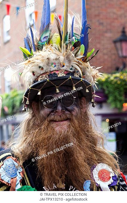 England, Kent, Rochester, Morris Dancer at the Annual Sweeps Festival