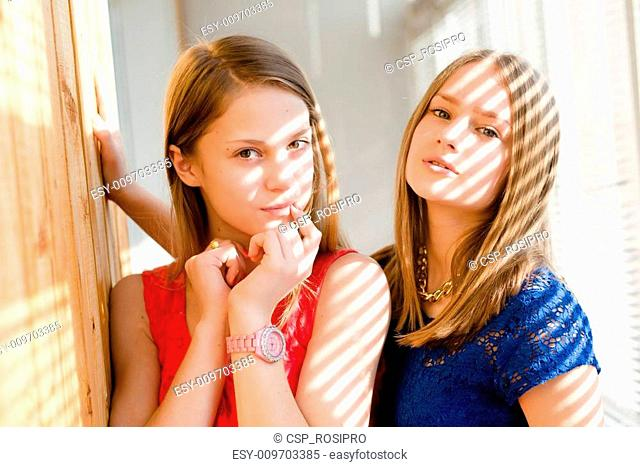 closeup portrait of 2 best girl friends or sisters beautiful blond young women having fun posing looking at camera on sun lighted blinds windows background...
