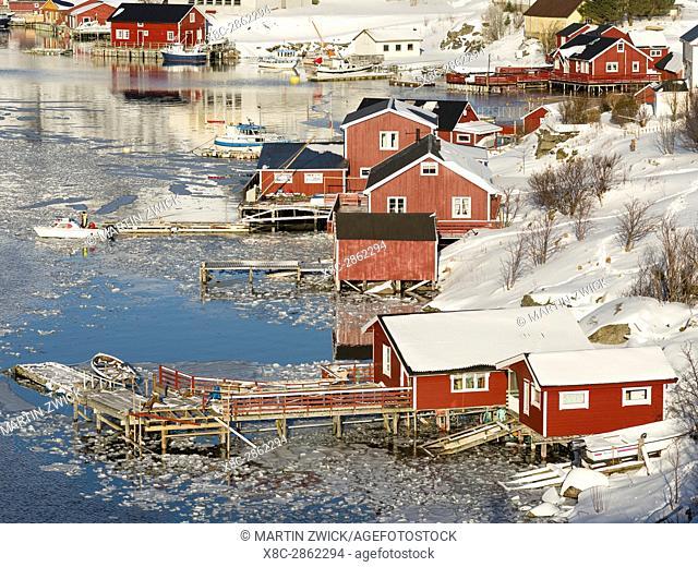 Village Reine on the island Moskenesoya. The Lofoten Islands in northern Norway during winter. Europe, Scandinavia, Norway,February