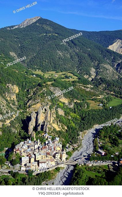 Aerial View of Peone Village Haut-Var Alpes-Maritimes France