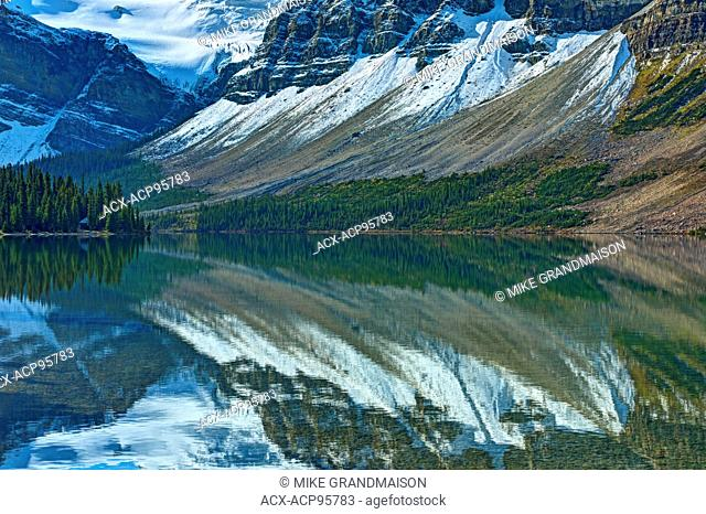 reflection of the Canadian Rocky Mountains in Bow Lake Banff National Park Alberta Canada