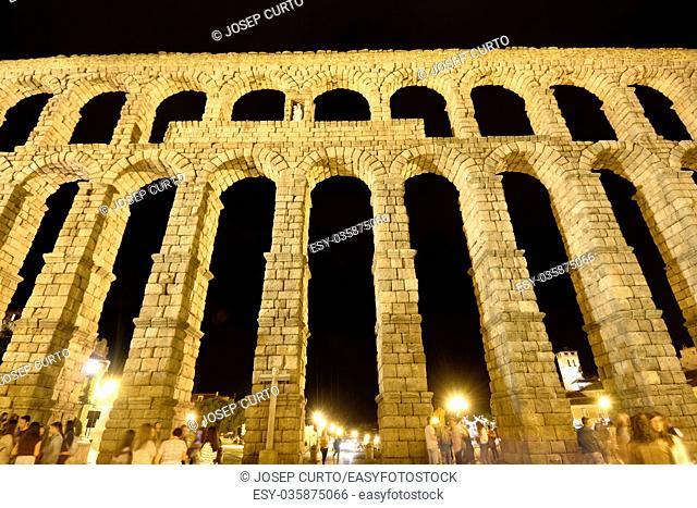Night in the Roman aqueduct of Segovia, Castilla-Leon,Spain