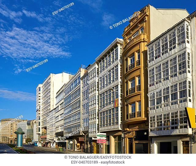 La Coruna facades near Port in Galicia of Spain