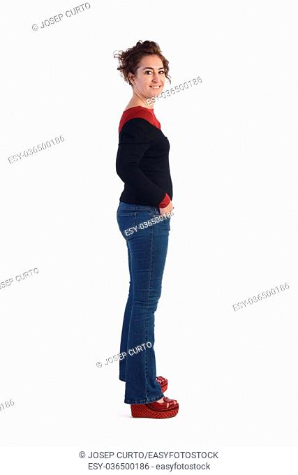Woman with blue jeans and a white background