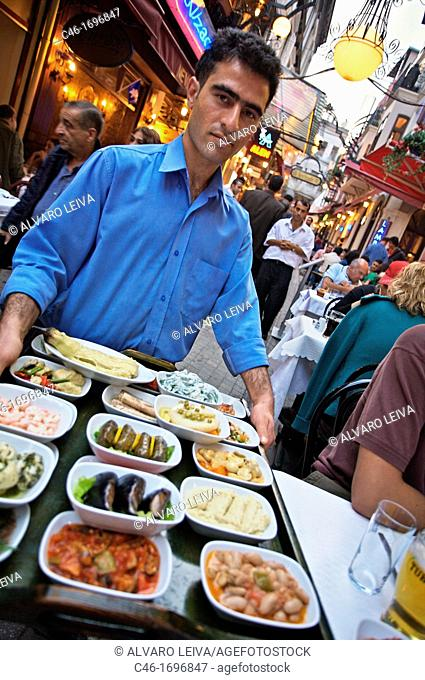 Restaurant near Istiklal Caddesi «Independence Street«, Istanbul«s main shopping street in Beyoglu quarter  Istanbul, Turkey