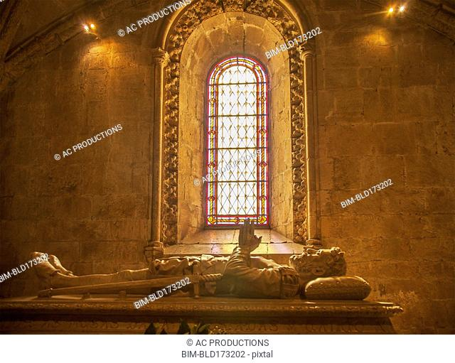 Tomb of Luis de Camoes in Church of Santa Maria, Lisbon, Extremadura, Portugal