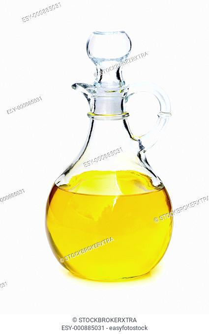 Vegetable oil bottle isolated on white background
