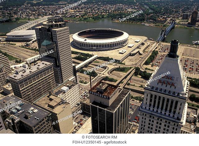 Cincinnati, aerial, OH, Ohio, Aerial view of downtown Cincinnati from Carew Tower Observatory