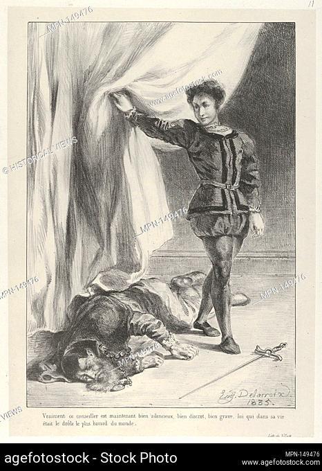 Hamlet and the Corpse of Polonius. Series/Portfolio: Hamlet, Treize Sujets Dessinés par Eug. Delacroix [Hamlet, Thirteen Subjects Drawn by Eug