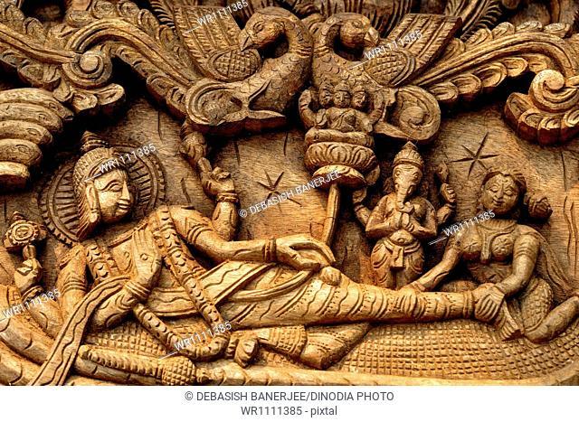 Lord krishna made by wood andhra pradesh India