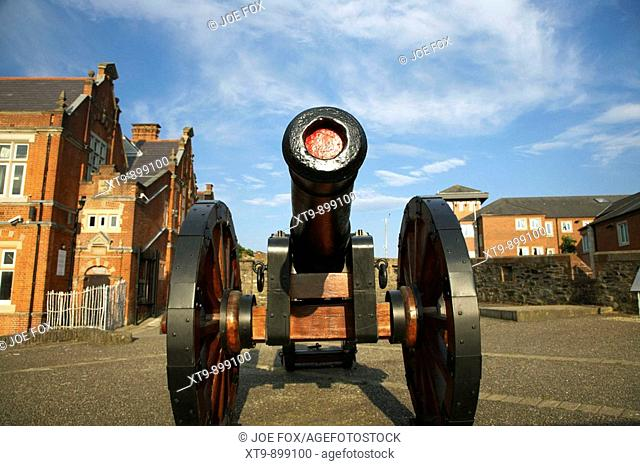 the famous roaring meg cannon on the mall wall and double bastion section of the 17th century almost complete fortified city walls surrounding the walled city...