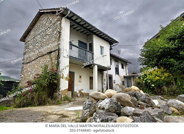 Rural house in Las Caldas on a cloudy day. Asturias. Spain