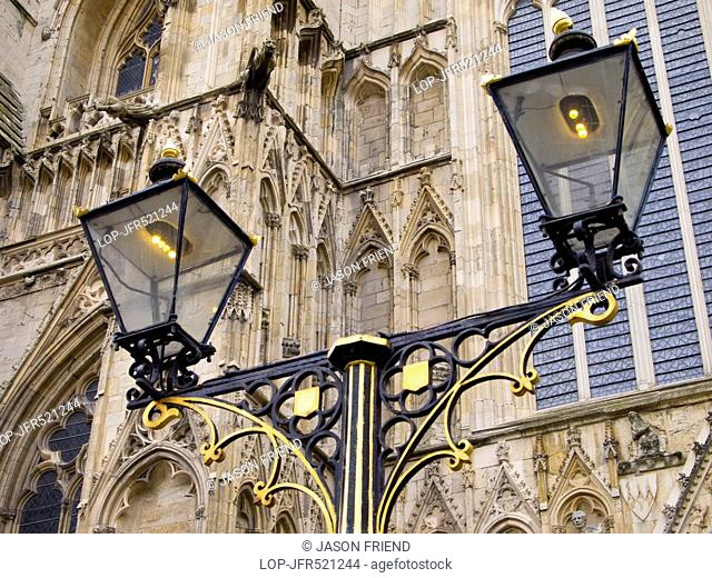 Ornate lamp outside of the West Front entrance of York Minster