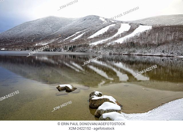 Franconia Notch State Park - Cannon Mountain in Franconia, New Hampshire USA during the autumn months after a dusting of snow