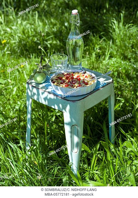 Garden stool with crumb cake with currents