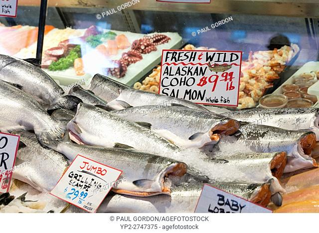 Seattle, Washington: Wild coho salmon for sale at City Fish Co. in Pike Place Market