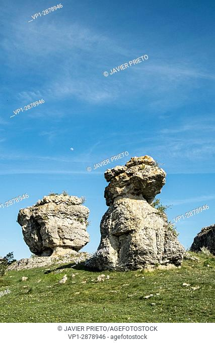Effects of erosion on the limestone rock at the Las Tuerces Natural Monument. World Geopark Las Loras. UNESCO Global Geopark. Palencia