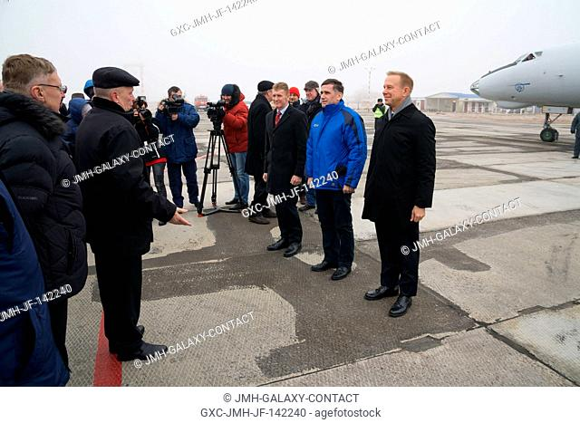The Expedition 46-47 crewmembers arrive in Baikonur, Kazakhstan Nov. 30 for final pre-launch training following a flight from their training base at the Gagarin...