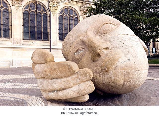 Modern sculpture in front of the Saint Eustache Church in the Quartier des Halles district, Paris, France, Europe