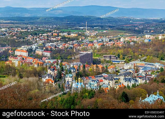 View of Karlovy Vary from Diana observation tower on hill, Czech republic