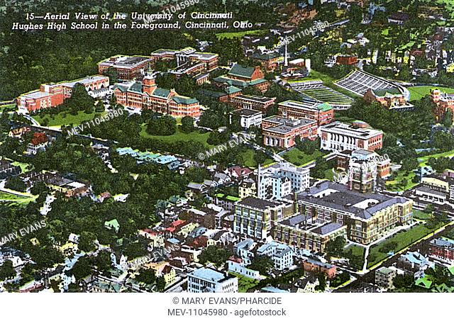 Aerial view of the University of Cincinnati, with Hughes High School in the foreground, Cincinnati, Ohio, USA