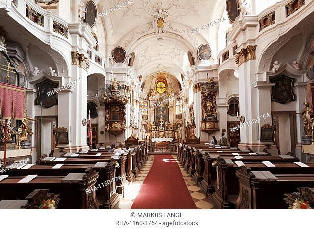 Collegiate church, Durnstein Abbey, Durnstein, Wachau, Lower Austria, Europe