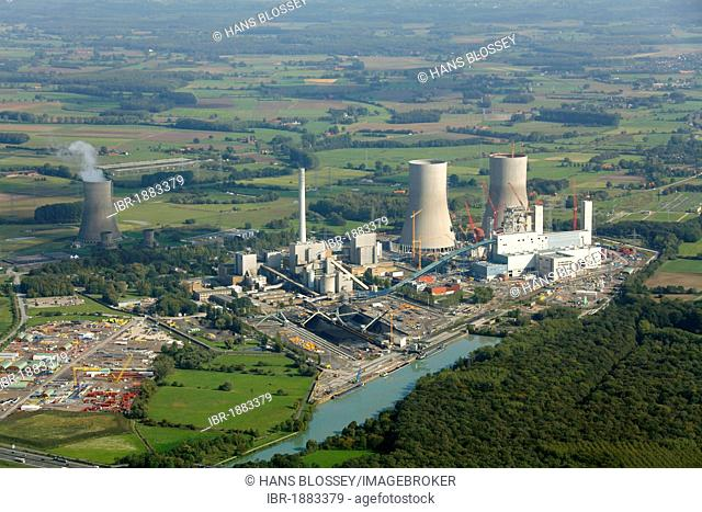 Aerial view, former THTR-300 Nuclear Power Plant, today Westfalen coal power station, under construction, safe enclosure, Hamm, Ruhr area, Germany, Europe
