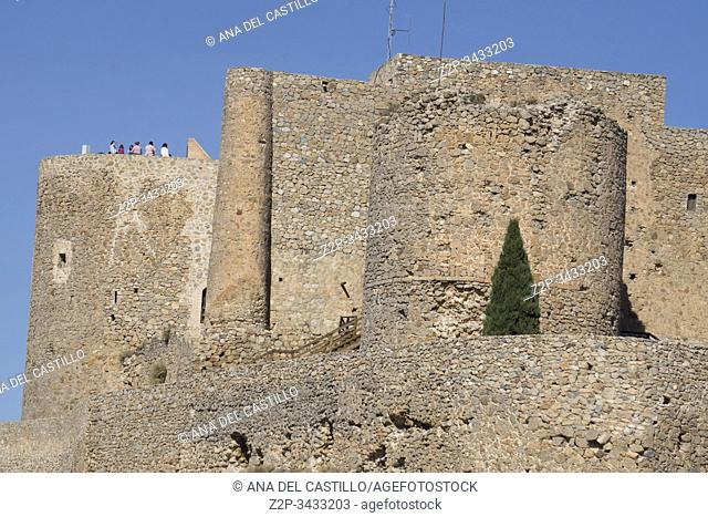 Consuegra Toledo province La Mancha: The castle in the mountain with tourists