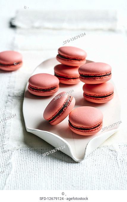 Pink macaroons with raspberry ganache