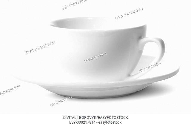 Empty coffee cup on a saucer isolated on white background