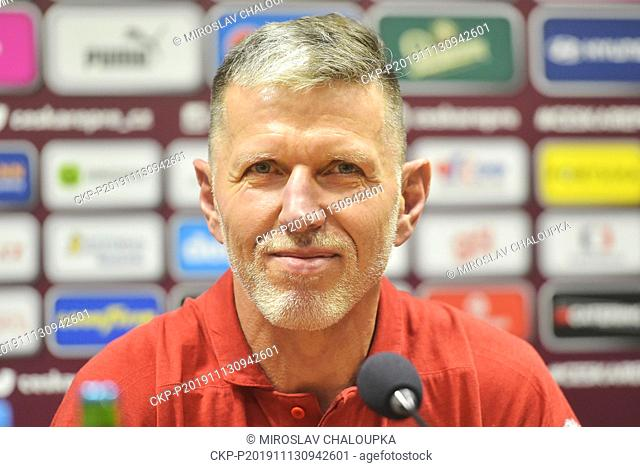 The Czech national football team coach Jaroslav Silhavy speaks during the press conference prior to the Euro qualification matches with Kosovo in Pilsen