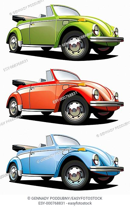 Vectorial icon set of old-fashioned cars VW Beetle isolated on white backgrounds  Every car is in separate layers  File contains gradients and blends