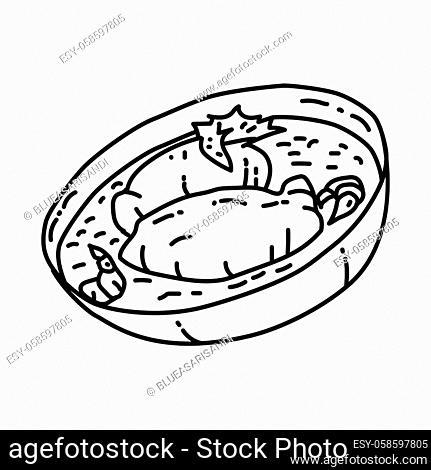 Quenelles de brochet France Food Hand Drawn Icon Set Vector