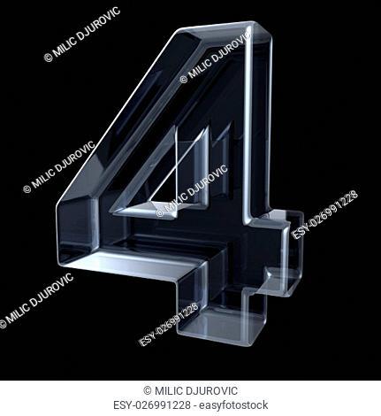 Transparent x-ray number 4 FOUR. 3D render illustration on black background