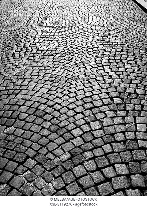 Cobbled street, Prague. Czech Republic