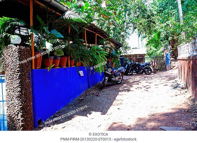 Motorcycles parked outside a restaurant, Baba au Rhum Restaurant, Opposite Uttam Resorts, Near Club Cubana, Arpora, Bardez, North Goa, Goa, India